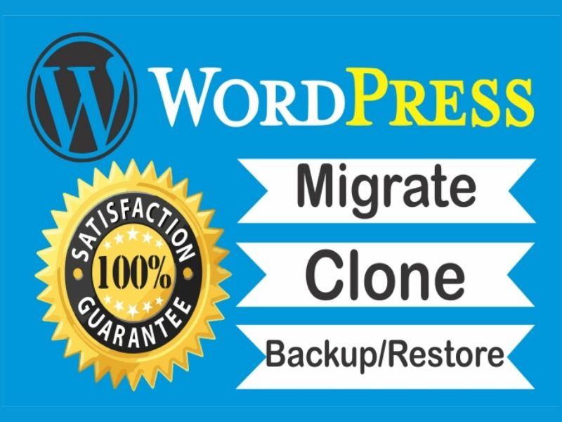 Any migration,  transfer,  move,  clone,  restore WordPress website