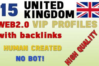 I will provide 15 vip uk profile backlinks services manually.