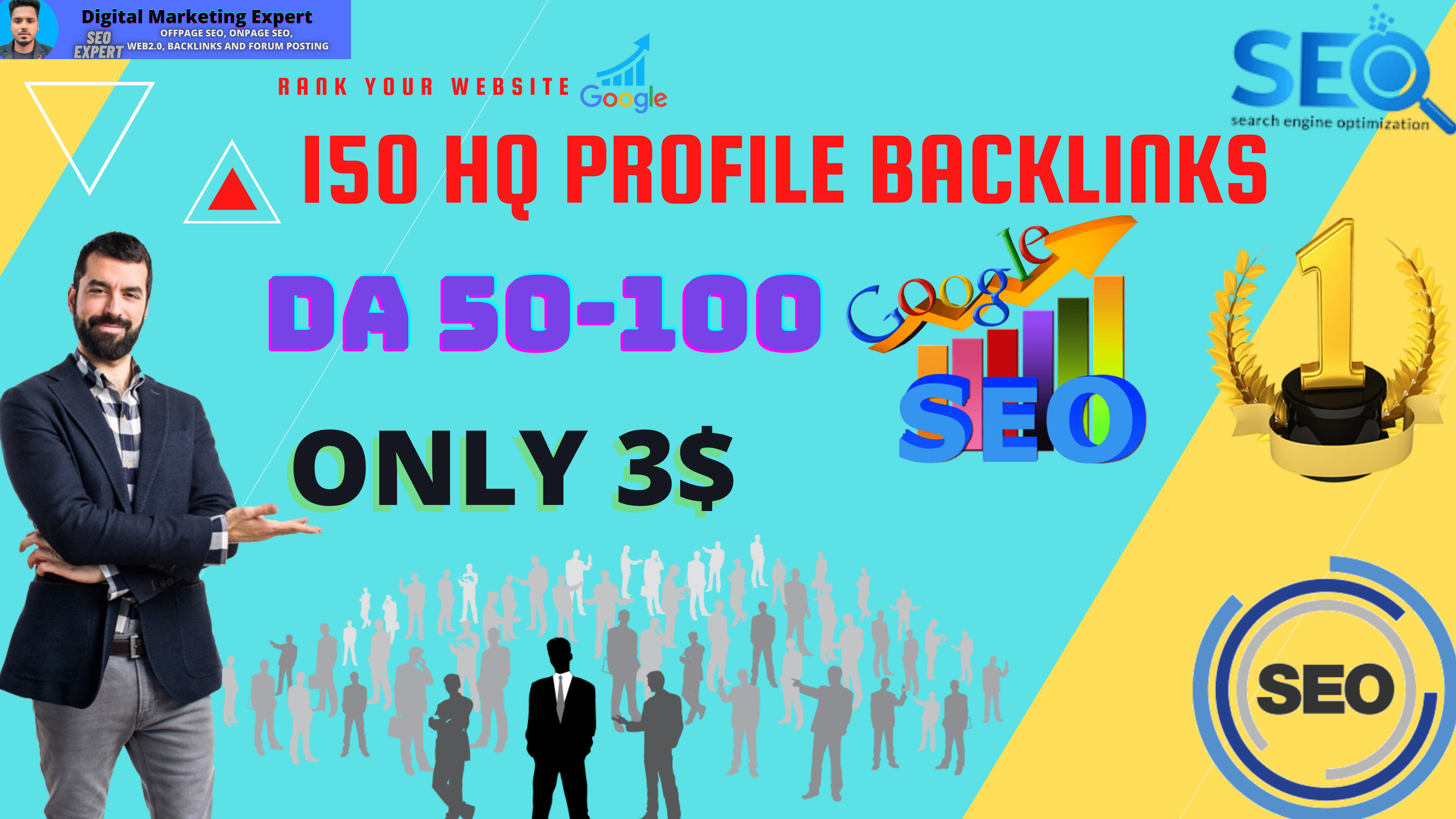 I will Create 150 High DA Profile Backlinks Manually for SEO Ranking Your Website