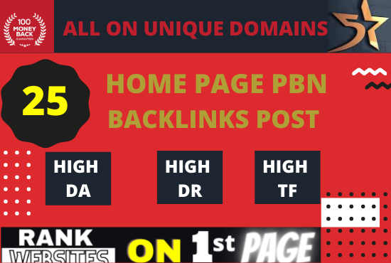 Build 25 PBN Backlinks High PA DA TF CF. Quality Links with fast delivery.