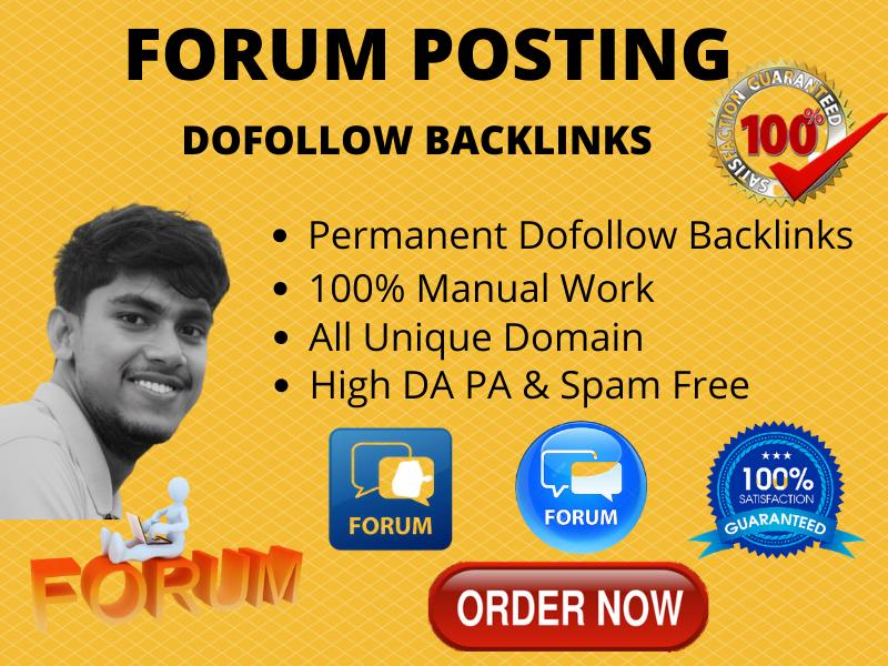 I will do forum posting backlinks high quality da 90 plus