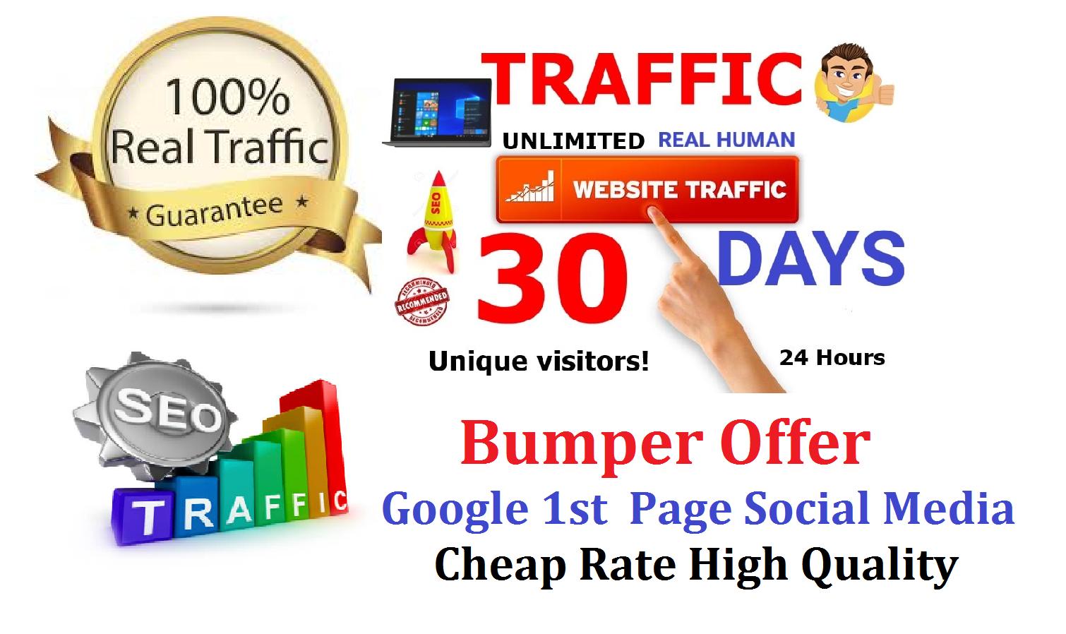 Bumper Offer 300,000 Worldwide Website USA Real Traffic Instagram, YouTube, Twitter, LinkedIn Traffic