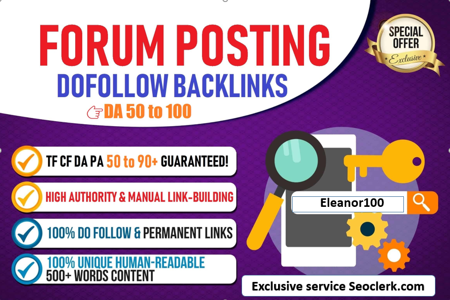 High Quality 50 manually High DA/PA forum posting Backlinks