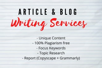 I will write 5 X 500 words SEO website content,  blog post or articles writing in 24 hours