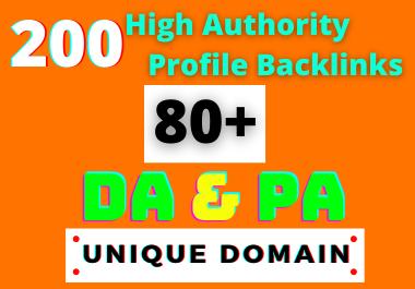 I Will Create 200 HQ Dofollow DA/PA 80+ Social Profile Backlinks Manually