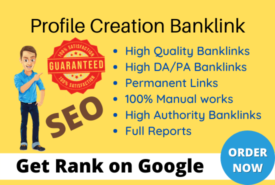 I will create 100 High-Quality profile creation backlinks & promote your website