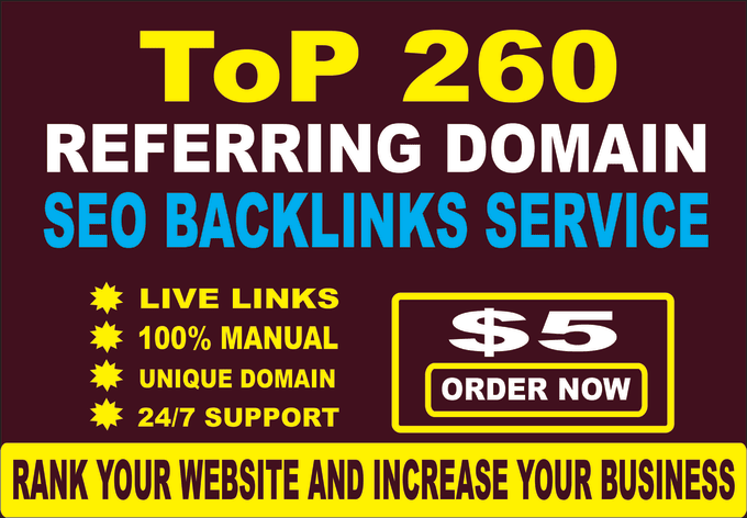 I will do 260 referring domains SEO backlinks for website ranking