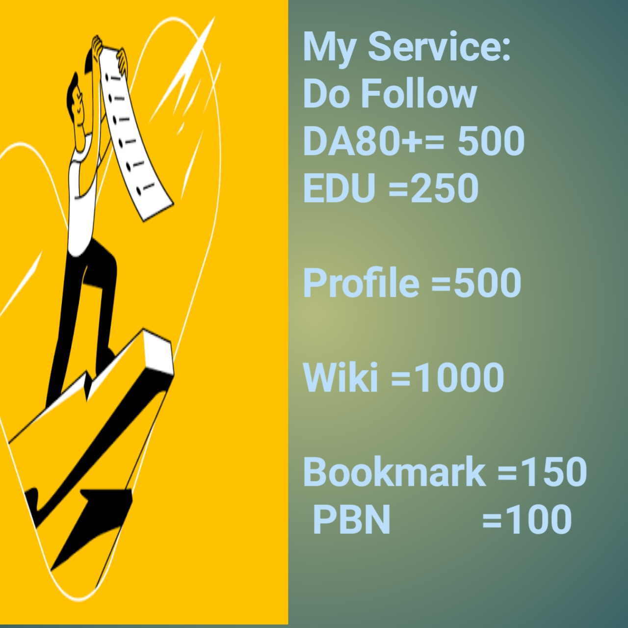 Do Follow DA80+500, EDU 250, Profile  500 Wiki  1000, Bookmark  150 PBN 100