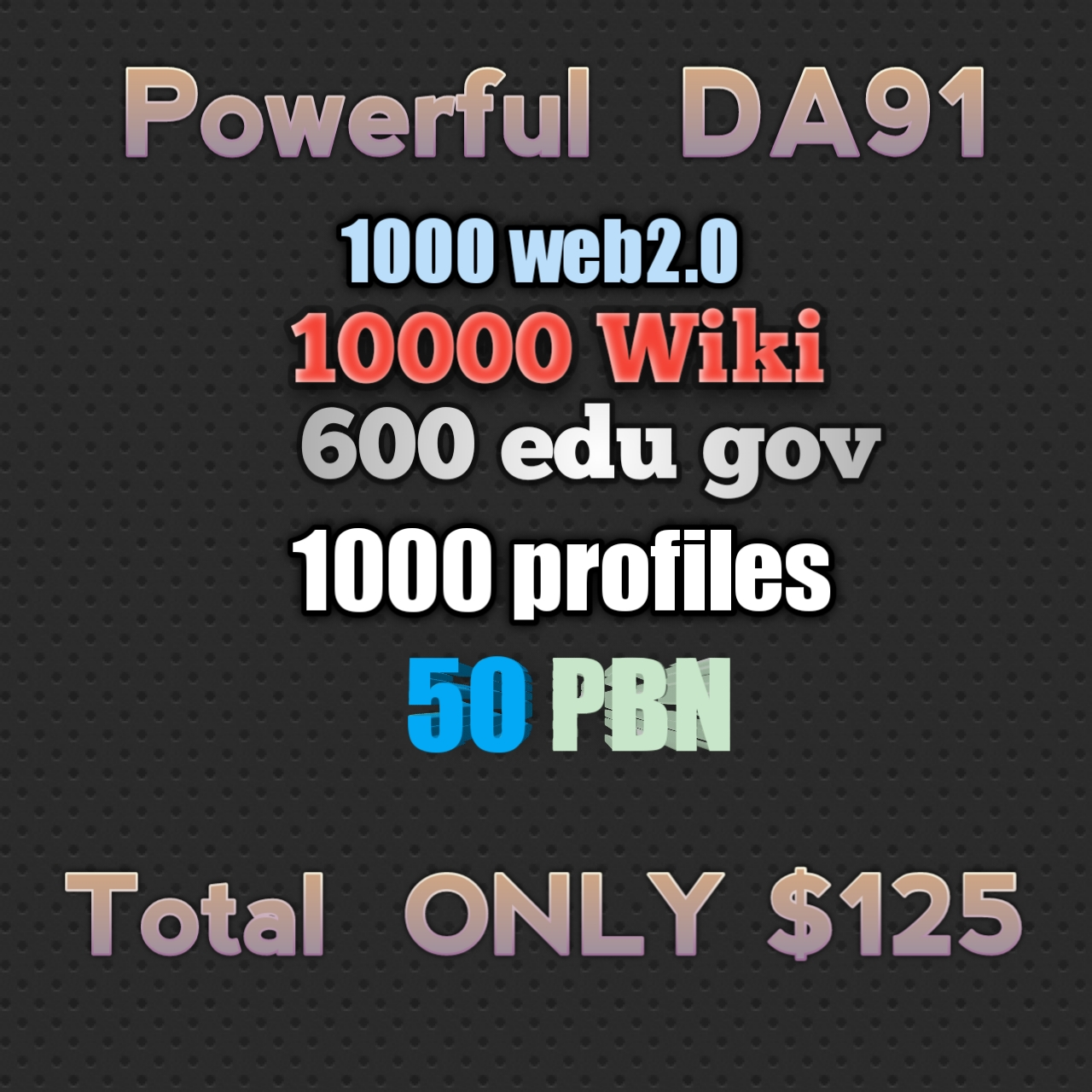 HIGH DA91+1000+web2.0+10000wiki+600edu+ 50 PBN +1000 profile+all exclusive Back-links