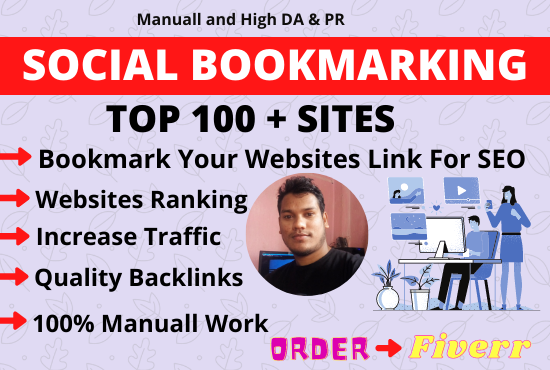 I will create manually 100 social bookmarking on Hight PR DA PA backlink
