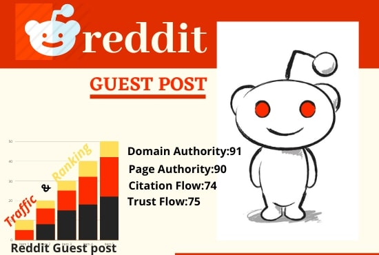 Write And Publish 5 Guest Post On Reddit DA 91,  PA 90 With Google Index Guaranteed Backlinks
