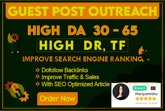 I will do 10 guest posting dofollow blogger outreach to high authority websites having da 30 to 60