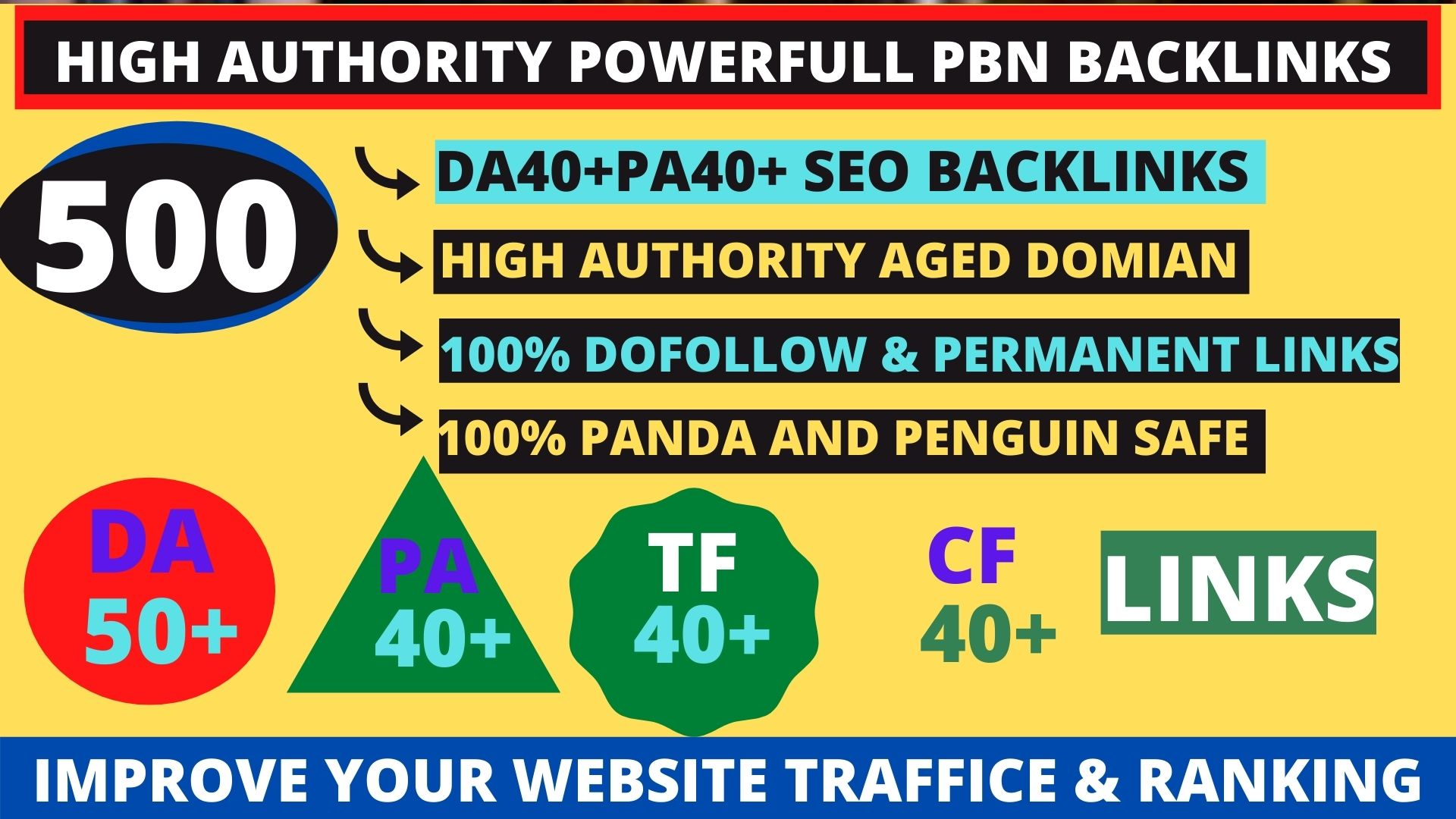 Get powerfull 500+ pbn backlink with high DA50+ PA40+ on your homepage with unique website