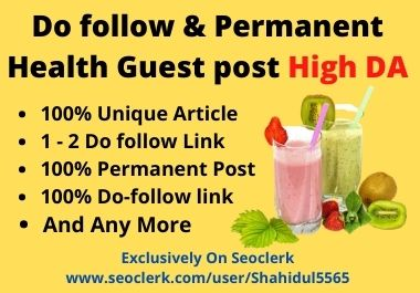 I'll Publish Dofollow Health Guest Post On High DA Website
