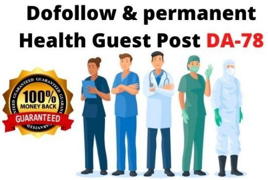 I will provide permanent health guestpost on DA 78+