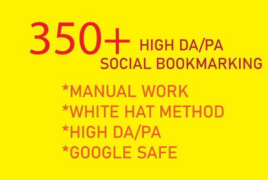 I will create manually high quality 350+ social bookmarking submission for HQ backlinks