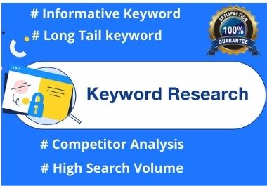I will do ideal SEO keyword research,  Competitor analysis and Website Audit with paid tools