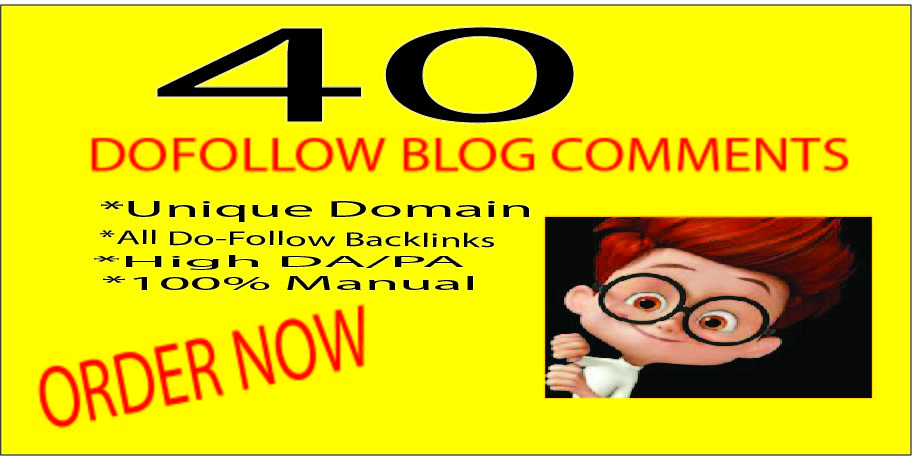 I Will Provide 40 Dofollow Blog Comments Backlinks High Quality,  General Sites.