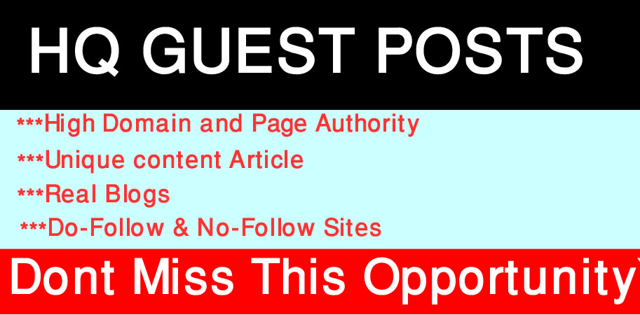 I will write and publish High quality 5 Guest Posts On High DA Sites.