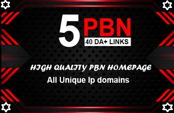 I will do Build 5 PBN DA 40+ Homepage Backlinks