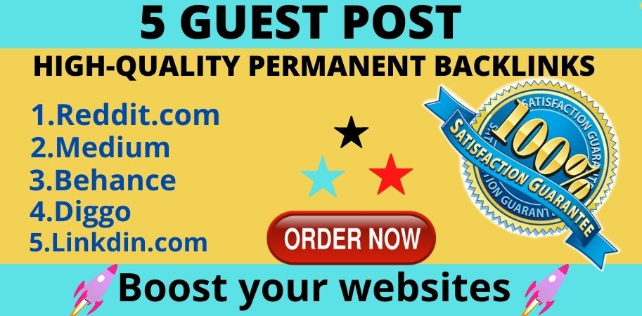 Google indexable 5 guest posts on high DA/PA websites