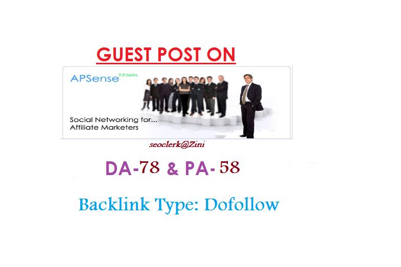 Able to publish Guest content on Apsense. com DA-78 Dofollow