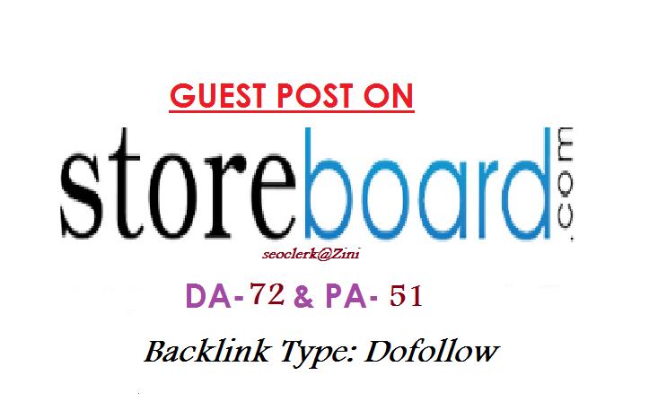 Able to publish Guest content on Storeboard. com DA-72 Dofollow