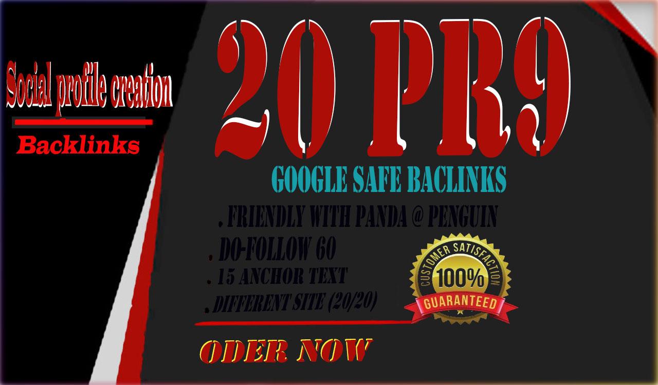 20+ PR9 DA 70+ backlinks for your site