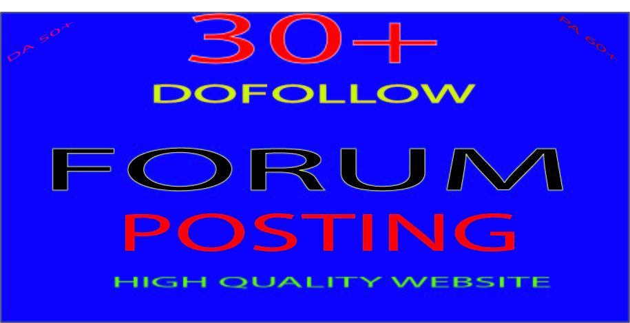 Do Manually 30+ Unique HQ Forum Posting SEO Backlinks for Google Ranking