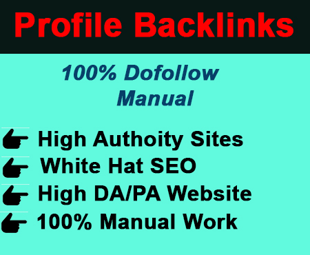 I will create best manually high authority 200 profile backlinks