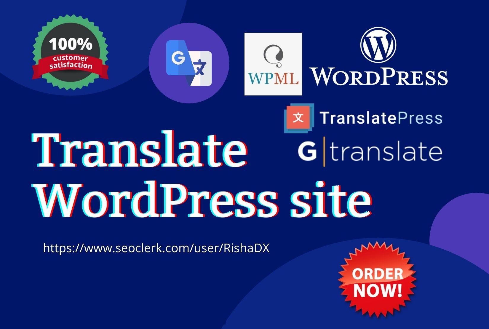 I will translate your wordpress website