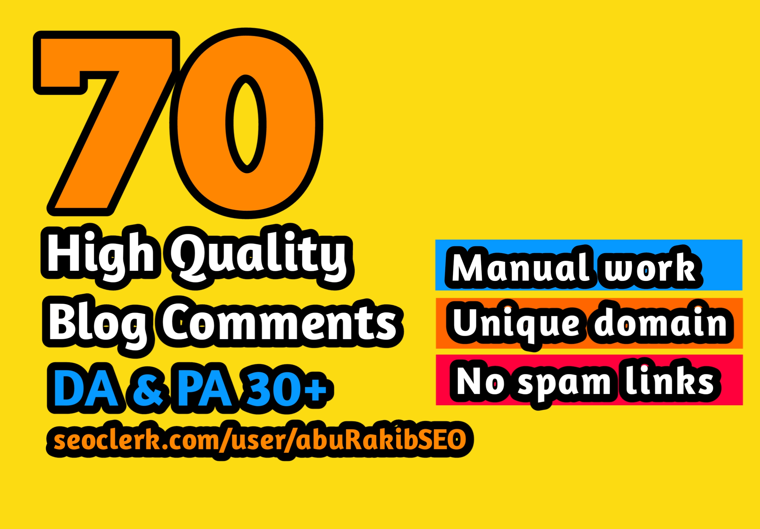 Manually create 70 High Quality Blog Comments