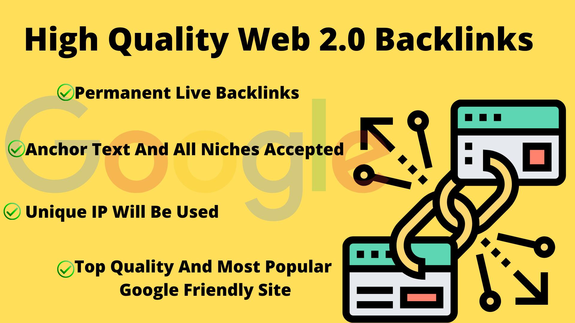 20 High Quality DA,  PR Web 2.0 Backlinks