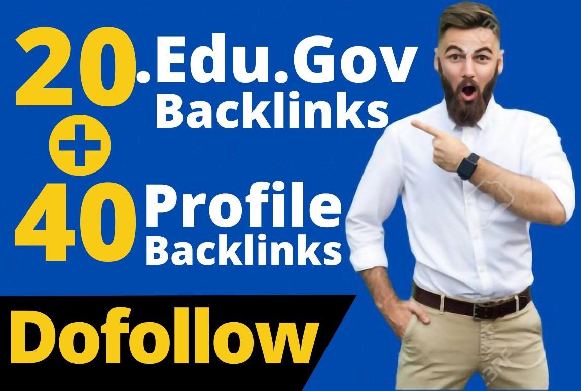 60 Dofollow DA-90 & Pr9 Edu/Gov+Profile Backlinks From - White Hat SEO
