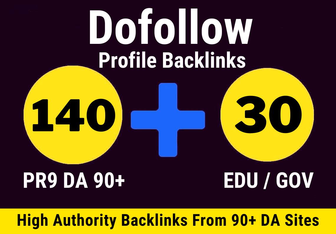 140 Pr9 + 30 Edu/Gov Unique HQ Authority Profile Backlinks Create Do-Follow Permanent Link building