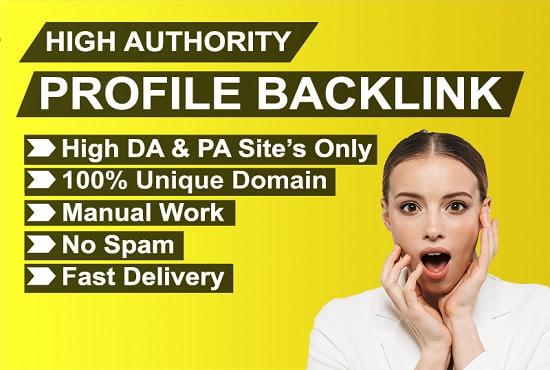 I will do high authority profile backlinks manually for SEO ranking