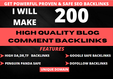 I will create 200 manual blog comment backlinks for google rank
