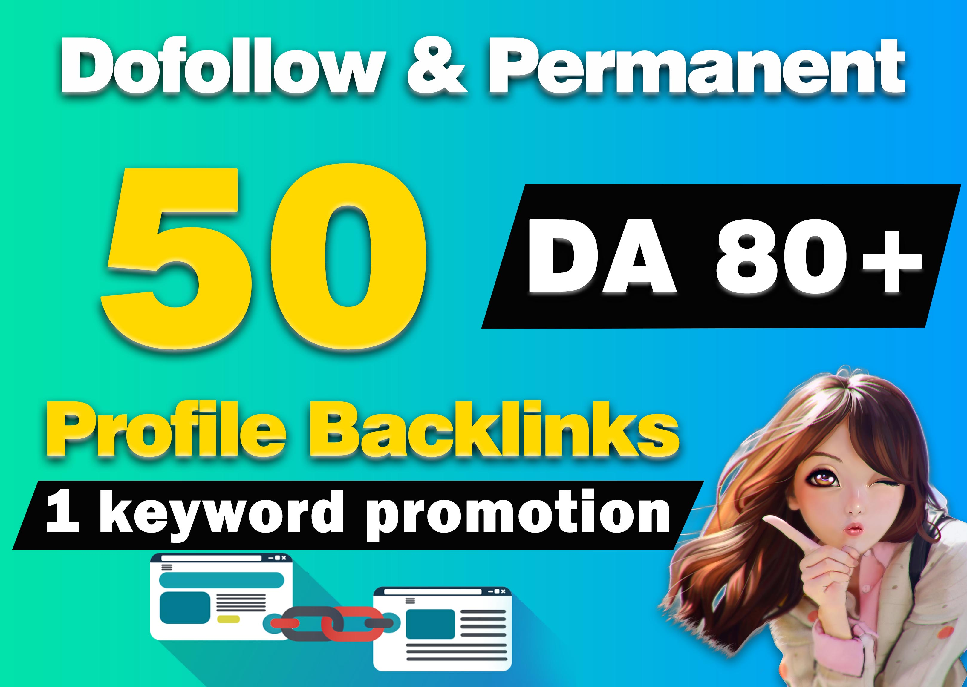 I will do 50 High Quality Dofollow Profile Backlinks,  Link Building Create Manually