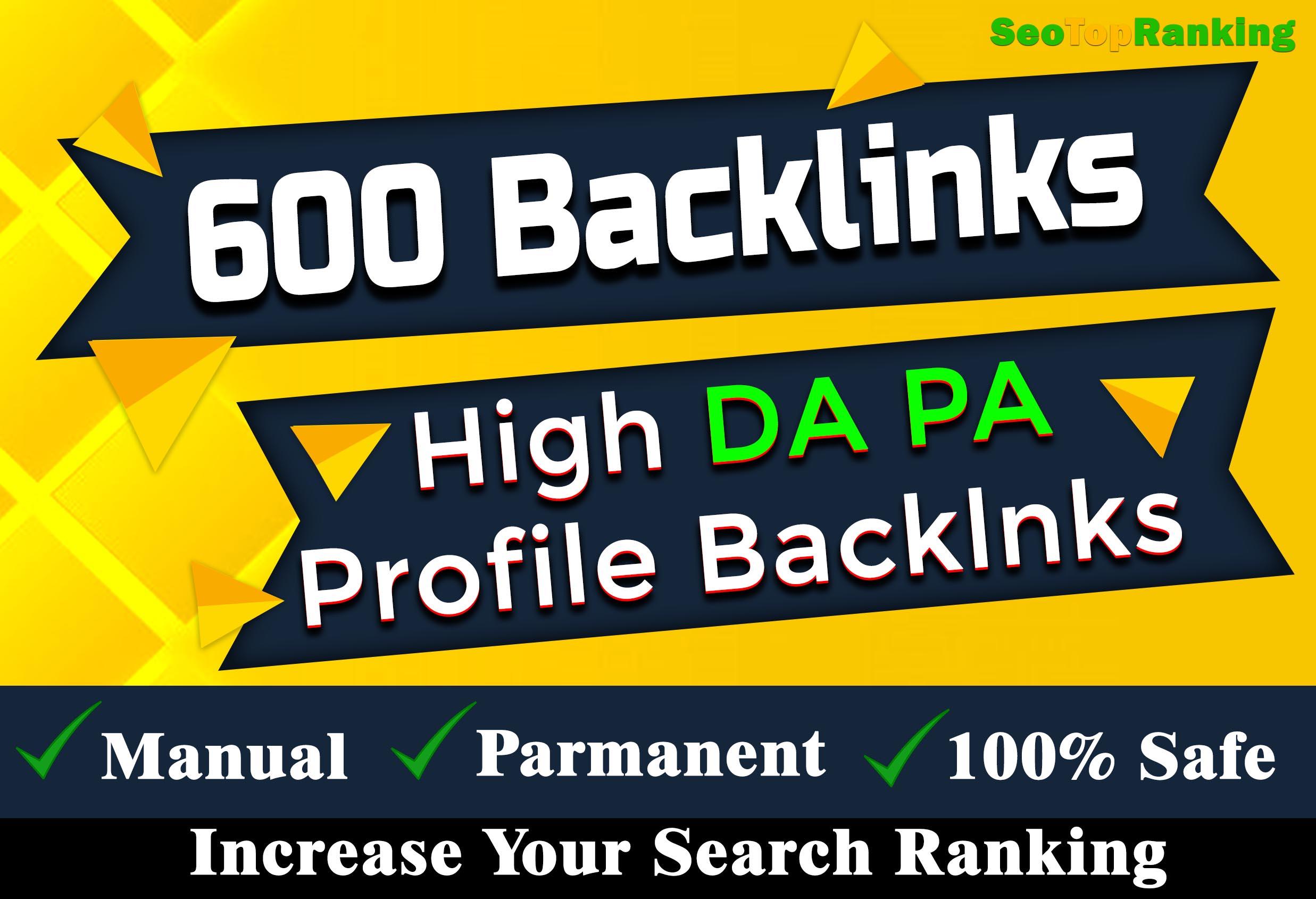 Manually 600 quality full profile backlinks DA 80+ SEO link building Service