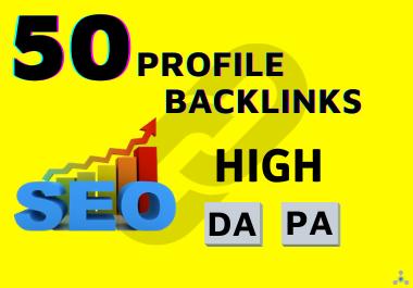 50 High Quality DA Social Profile Backlinks For SEO
