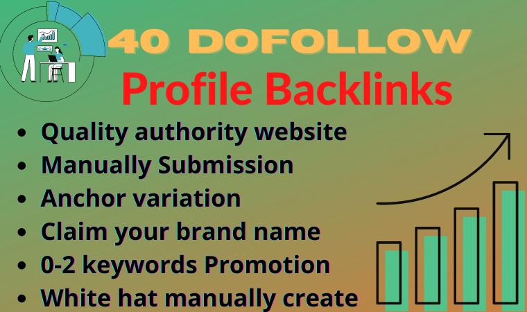 Manually Provide 40 High Quality SEO Profile Backlinks