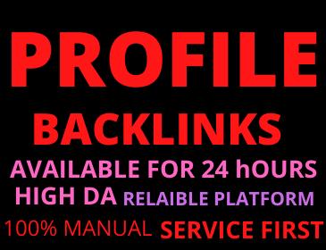 20 Profile Backlinks manual DA 50+ Permanent unique link building high authority