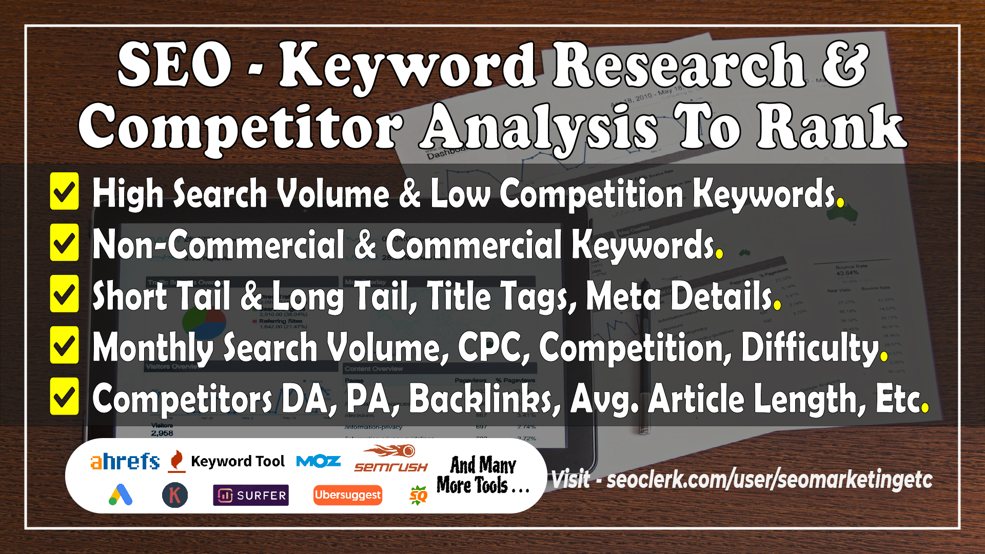 I will do keyword research and competitor analysis for seo to rank