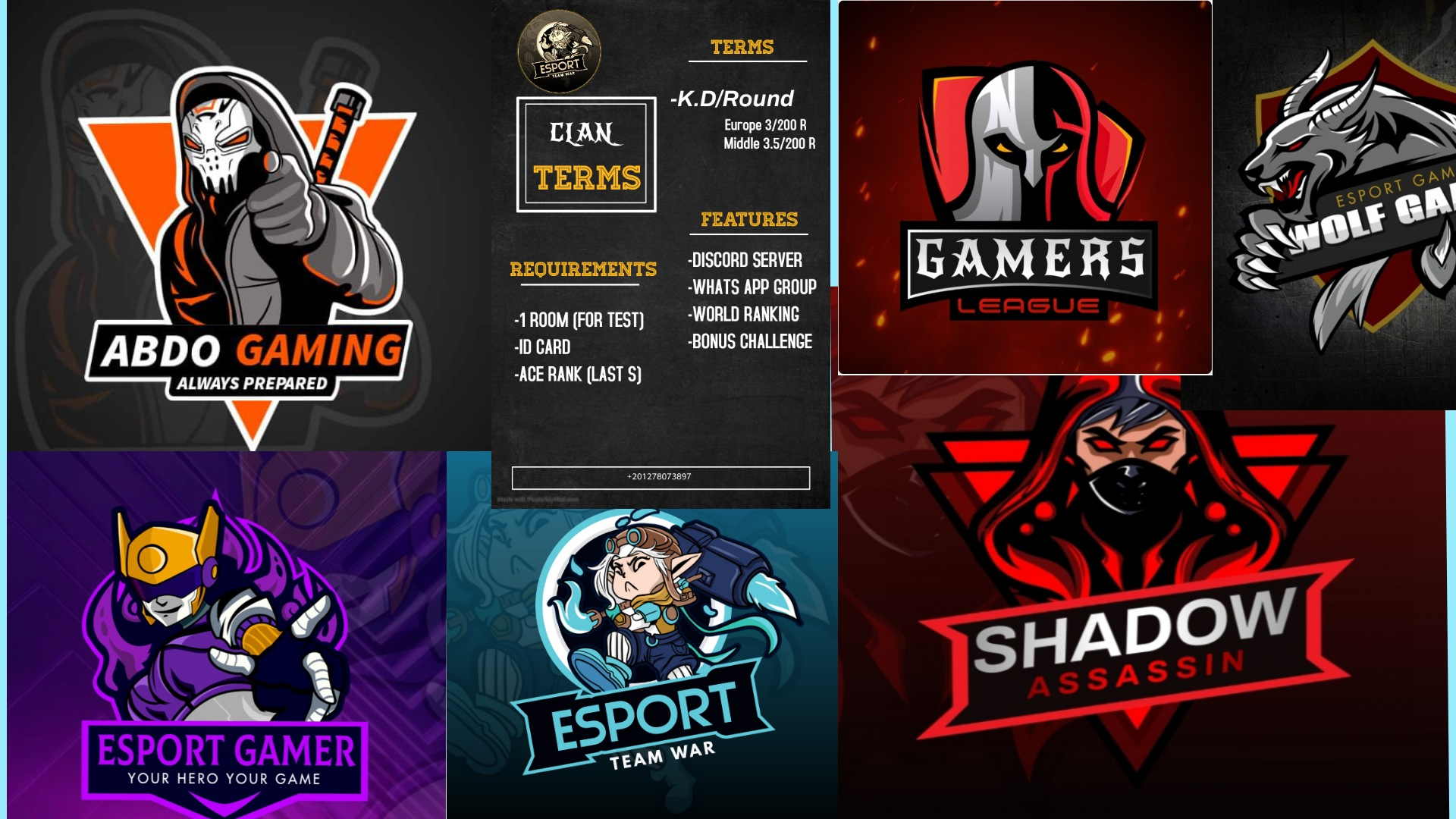 I will design very great gaming logo, esports, pubg clans