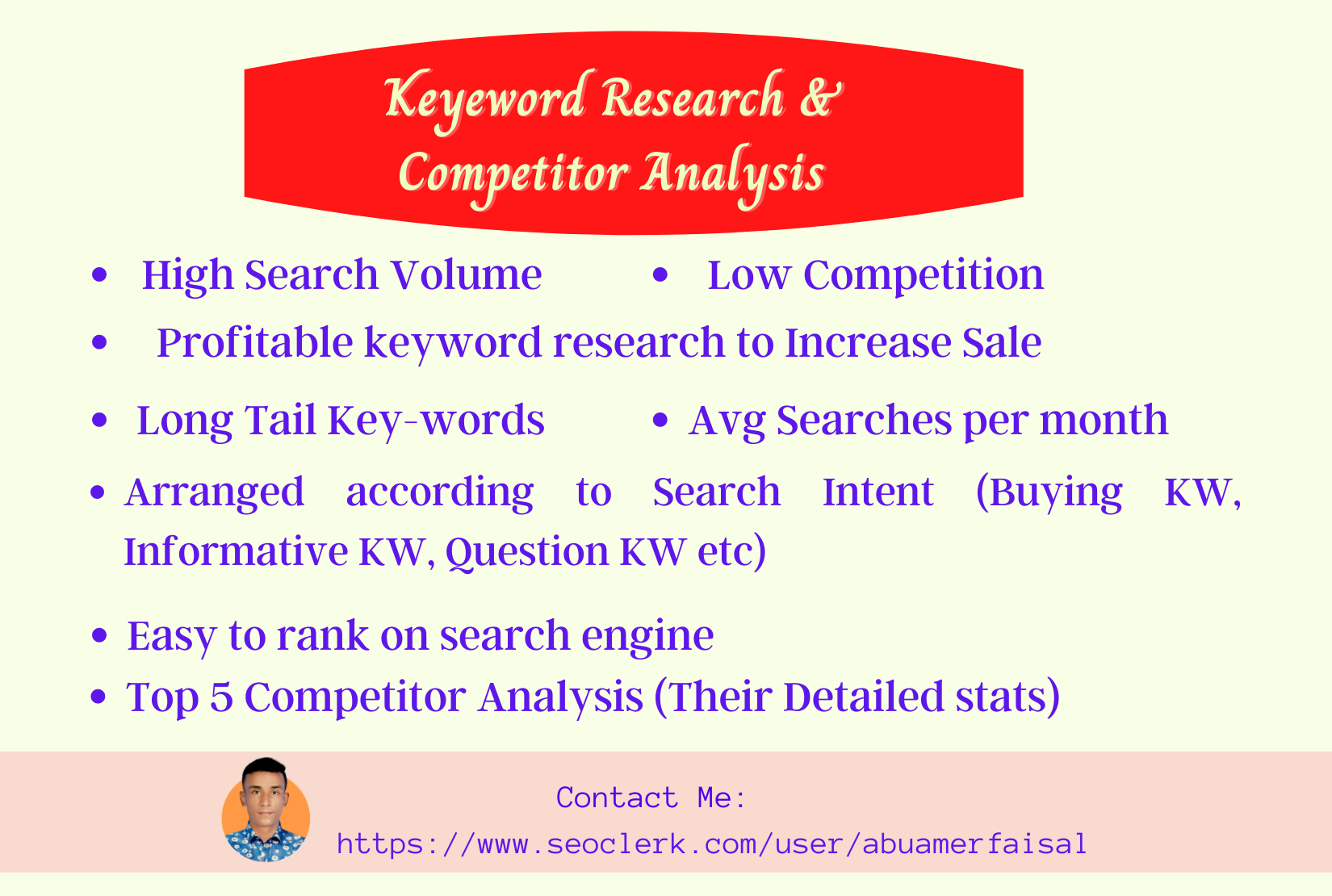 Profitable SEO keyword research and competitor analysis for your website.