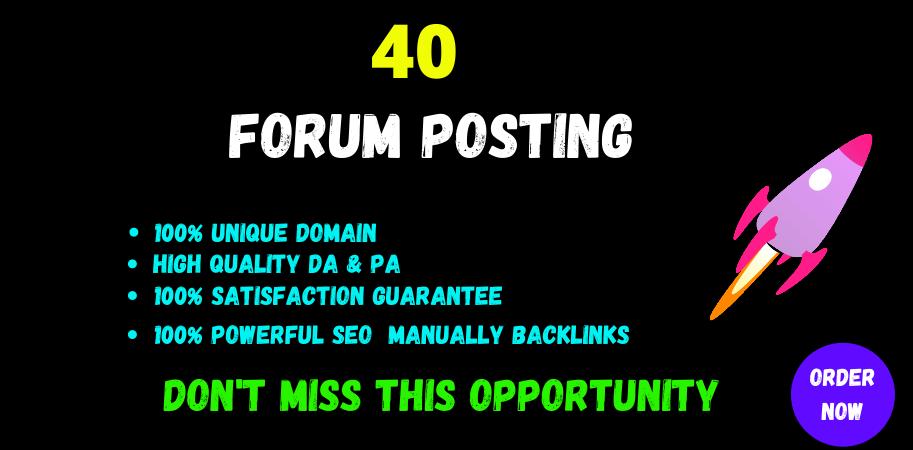 Provide 40 dof0llow forum posting backlinks on High Quality DA Site