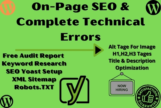 I will do on page SEO for your WordPress website with SEO yoast plugin