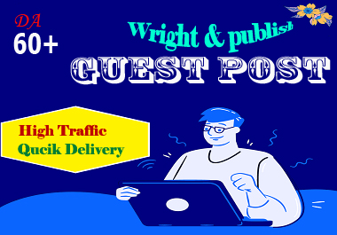 Write and publish 5 Guest Post on HQ website DA 60 plus with permanent seo backlink