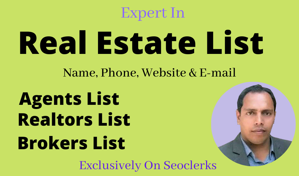 I will build real estate agents,  brokers,  realtors,  and email listing from your city