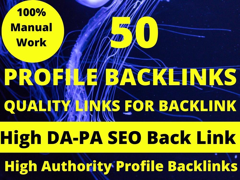 I will Create 50 Profile Backlinks on High DA Sites